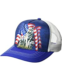 The Mountain Unisex-Adults Wolf Flag Trucker Hat, Blue, One Size fits All