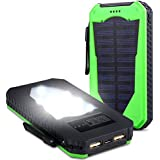 15000mAh Solarstrom Ladeger�t Dual USB Anschl�sse Solar Ladeger�t tragbare Solar Panel Back Up Handy Ladeger�t f�r iPhone5se 5s 6 6s Plus, iPod, iPad, Samsung Galaxy S4 S5 S6 S7 Edge Note 3 4 5, Tablet etc. Gr�n
