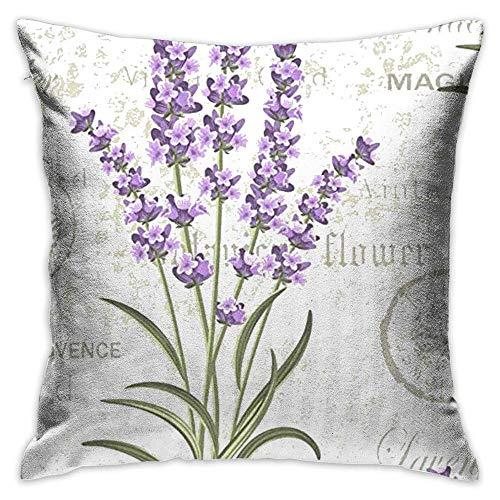 FPDecor Funda de Almohada, Throw Pillow Cover Lavenders Floral Vintage Decorative Pillow Case Decor...