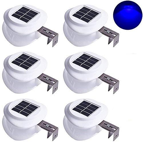 6X Lampada Solare da Esterno,Lanterna Solare Outdoor,Luci Solari Giardino,Luce blu Solare 9 led Esterno per Parete, Giardino,Patio, Ponte, Cortile