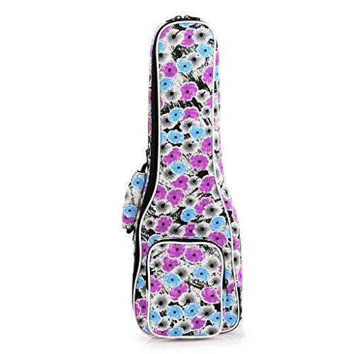 Eleoption Housse Ukulélé Bag Sac pour ukulélé Motif tissé Motif folk Blanc 23 inch(Flower) L