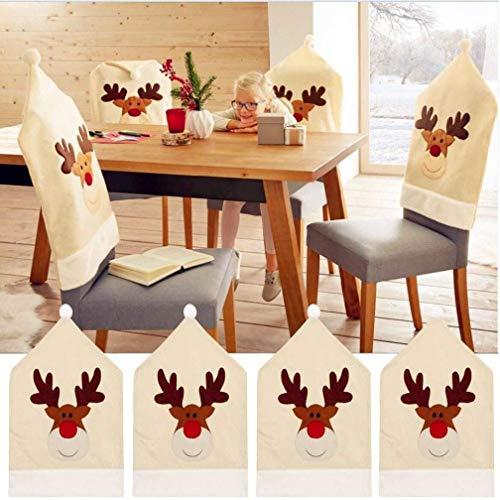 Coprisedia con renne di natale (set da 4), decorazione natalizia con renne, per la tavola, 50 x 60 cm