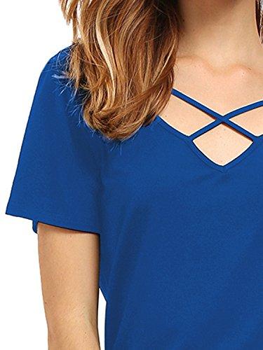 Match Donna T-Shirt Casual #137 137 Blu(Blue)