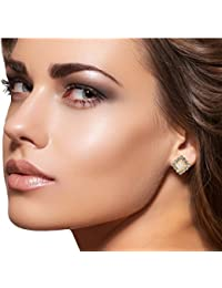 9blings Designer Square Shape Cubic Zirconia Pearl Gold Plated Zinc Alloy Stud Earring For Women