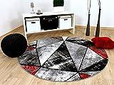 Designer Teppich Brilliant Rot Grau Magic Rund in 3 Größen
