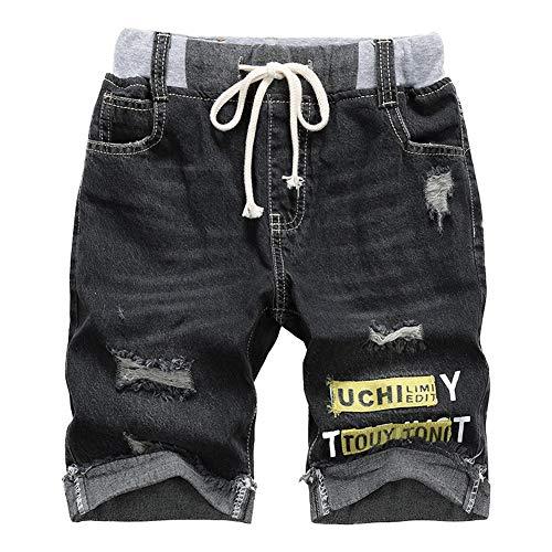 Unsvor bambino denim pantaloncini - bambini estate strappato jeans - ragazzo lunghezza del ginocchio vita elasticizzata coulisse estate cotone pantaloni corti nero 10-11 anni