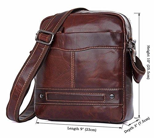 Everdoss Herren Schultertasche Umhängetasche echt Leder Cross Body Messenger Bag Vintage Business Freizeit Kaffee