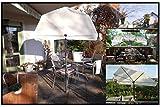 Holly Sonnen-SICHTSCHUTZ- 360° drehbar Fächerschirm - Natur hoher UV Schutz - Befestigung - Schirmstock mit Stuhlklammer - Produktion Baden WÜRTTEMBERG - First - IT Fächerschirme Video -