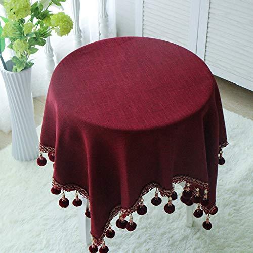 Baumwolle und Leinen einfarbig Tischdecke Runde Tischdecke (Farbe : B, größe : 200cm)
