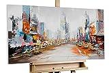 KunstLoft® Acryl Gemälde 'Großstadtfieber' 100x50cm | original handgemalte Leinwand Bilder XXL | Moderne Skyline in Beige und Bunt | Wandbild Acrylbild moderne Kunst einteilig mit Rahmen