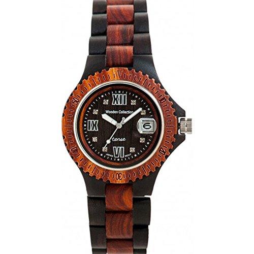 Holzuhr TENSE Mens Compass Premium Unisex-Uhr G4100DR - Natürliches Sandelholz/Rosenholz G4100DR