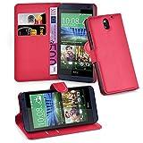Cadorabo Hülle für HTC Desire 620 Hülle in Karmin Rot Handyhülle mit Kartenfach und Standfunktion Case Cover Schutzhülle Etui Tasche Book Klapp Style Karmin-Rot