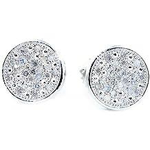 earrings-midwestjewellery Hombre Rosca de 8mm de ancho Diamond Pendientes de tuerca 1/6cttww trasera plata de ley (I/J Color 0.2quilates)