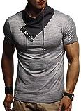 LEIF NELSON Herren Jungen T-Shirt Hoodie Stehkragen Ausschnitt Kurzarm Longsleeve modern Basic Shirt StehkragenVintage Sweatshirt Baumwolle-Anteil LN1135; Größe S, Anthrazit