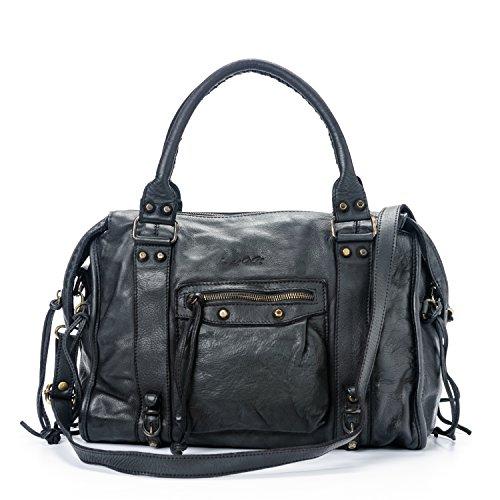 Italy del echtes Leder Vintage Valle Made Dallas Frauentasche in Modell Schwarz Ira SCxgqOvwv