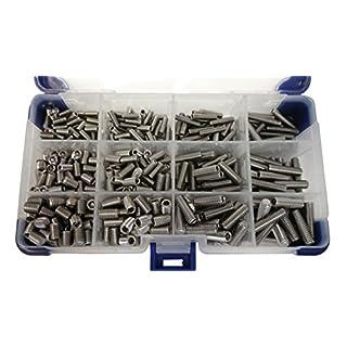 AHC K-10111 510Pc Flat Point M4 M5 M6 (Mixed Pack) Stainless Steel Socket Setscrews/Grub Screws