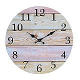 30cm Horloge Murale Ronde en Bois, silencieuse en Bois Cadran Horloge minuteur pour la Maison Salon Chambre Bureau Café Bar Decor