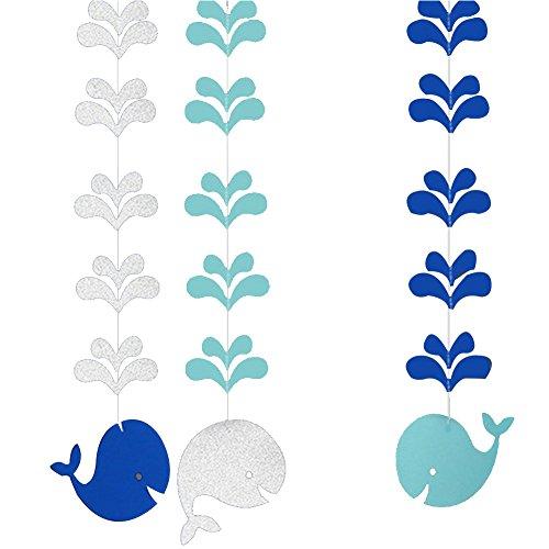 Qinlee Hängen Banner Wal Wasserspritzen Stil Bunting String Flaggen für DIY Hochzeit Bankett Geburtstags-Party Festival Ornamente (Blau)