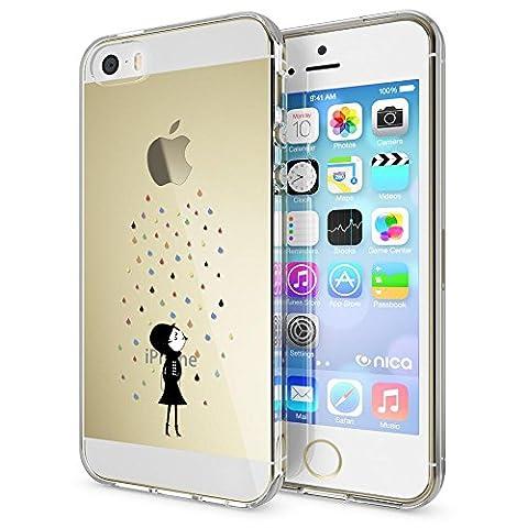 iPhone SE 5 5S Coque Protection de NICA, Housse Motif Silicone Portable Premium Case Cover Transparente, Ultra-Fine Souple Gel Bumper Etui pour Apple iPhone 5 5S SE, Designs:Colorful Rain