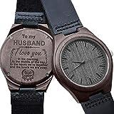 Gravierte hölzerne Uhr für Männer, natürliche hölzerne Groomsmen Uhr für Ehemann Sohn natürliche Ebenholz angepasst Holz Uhr Geburtstag Jubiläumsgeschenk (Für Ehemann)