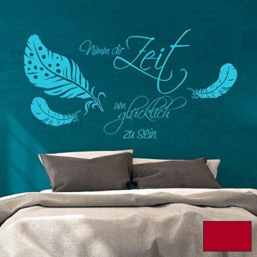 Adesivo da parete citazione da parete prendi tempo per essere felici con piume m1758, rosso ciliegia, S - 60cm breit x 36cm hoch