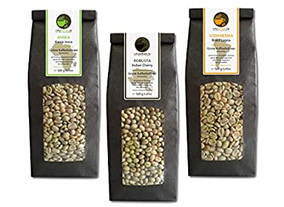 Green Coffee Beans Kenya, India, Brazil (highland raw coffee beans, 3x500g value pack) from Rohebohnen