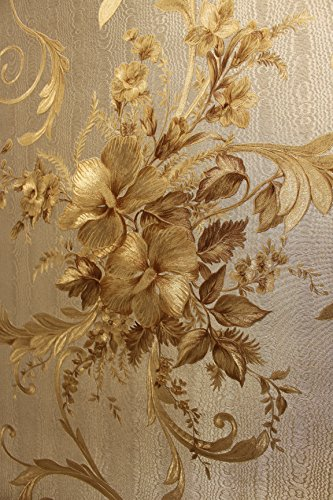 Vinyltapete Tapete Barock Retro # gold/silber # Fujia Decoration # 22651