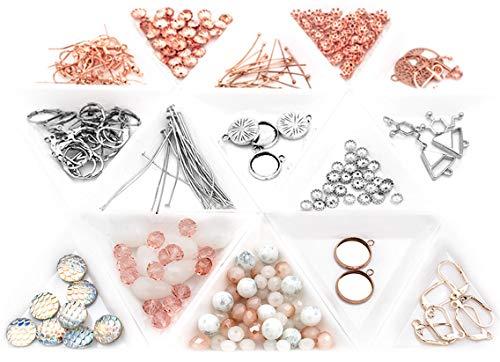 Vintageparts Bastelset zum Ohrringe selber Machen für 30 Paar Ohrringe in roségold und silberfarben als Gastgeschenk für Hochzeit Junggesellinnenabschied und Geburtstag
