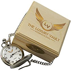 Signed John Wayne Pocket Watch and Revolver Keychain Free Engraving personalised in Luxury Wooden Box Custom Engraved