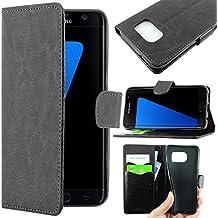 ebestStar - pour Samsung Galaxy S7 edge SM-G935F G935 - Housse Coque Etui Portefeuille Support PU Cuir, Couleur Noir [Dimensions PRECISES de votre appareil : 150.9 x 72.6 x 7.7 mm, écran 5.5'']