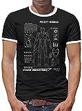 Project Ironman Kontrast T-Shirt Herren L Schwarz