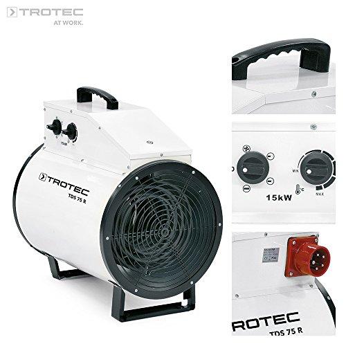 TROTEC Elektroheizer TDS 75 R mit 15 kW Heizlüfter Heizgerät Bauheizer mit integriertem Thermostat, Überhitzungsschutz sowie Mehrstufen-Temperaturregelung mit 3 Heizstufen