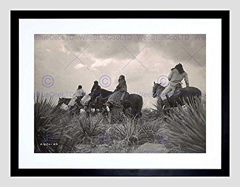 VINTAGE PORTRAIT APACHE NATIVE AMERICAN STORM CLOUD FRAMED ART PRINT B12X11809