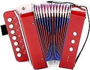 Dilwe Acordeón, 7 Teclas 2 Bajo Mini Pequeño Acordeón Instrumento Musical Educativo Ritmo Juguete para Princip