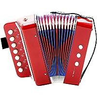 Dilwe Acordeón, 7 Teclas 2 Bajo Mini Pequeño Acordeón Instrumento Musical Educativo Ritmo Juguete para Principiante Enseñanza de la Primera Infancia(Rojo)
