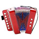 Dilwe Fisarmonica, 7-Key 2 Bass Mini Piccola Fisarmonica Educativa Strumento Musicale Giocattolo per Bambini(rosso)