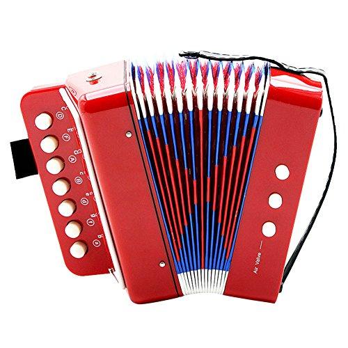 Dilwe Akkordeon Kinder Spielzeug, 7-Tasten 2 Bass Mini Kleine Akkordeon Pädagogisches Musikinstrument Rhythmus Spielzeug für Anfänger und Kinder Früherziehung(Rot)