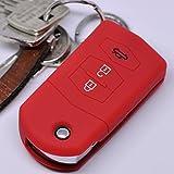 Soft Case Schutz Hülle Auto Schlüssel Mazda CX-5 2 3 4 5 6 RX-8 Klappschlüssel 3 Tasten/Farbe: Rot