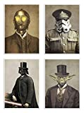 Wall Editions -  4 Art-Posters 20 x 30 cm - Star Wars Vintage portraits  - Terry Fan