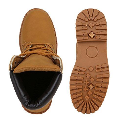 Stiefelparadies Herren Worker Boots Profilsohle Stiefeletten Gefütterte Outdoor Schuhe Schnürboots Wildleder-Optik Nieten Camouflage Flandell Hellbraun Camiri