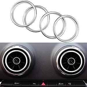Auto Styling Klimaanlage Belüftung Aluminiumlegierung Ring Dekoration Aufkleber für A3 S3 2013-2016 (Silber)