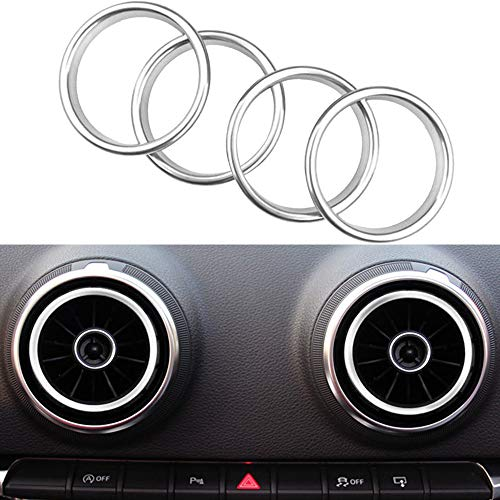Auto aria condizionata air vent anello in lega di alluminio adesivi decorazione per A3 S3 2013-2016 (4 Pack) (Argento)