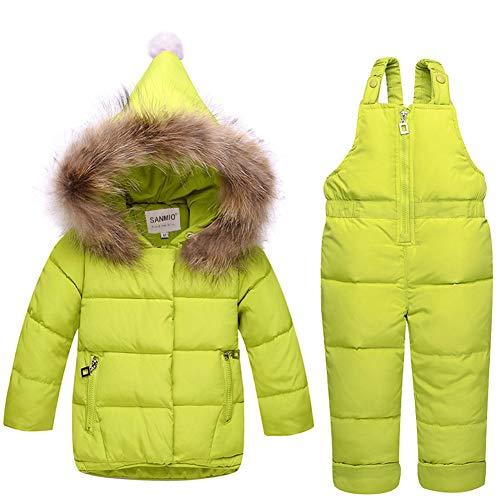 SANMIO Baby Mädchen Daunenjacke mit Kaputze Bekleidungsset Kinder Verdickte Winterjacke + Winterhose Daunenhose Kinderskianzug
