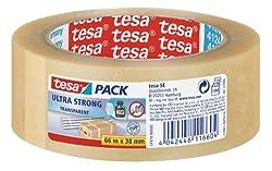 tesa Ultra Strong Packband (aus PVC mit besonders starker Klebekraft, 66 m x 38 mm) transparent