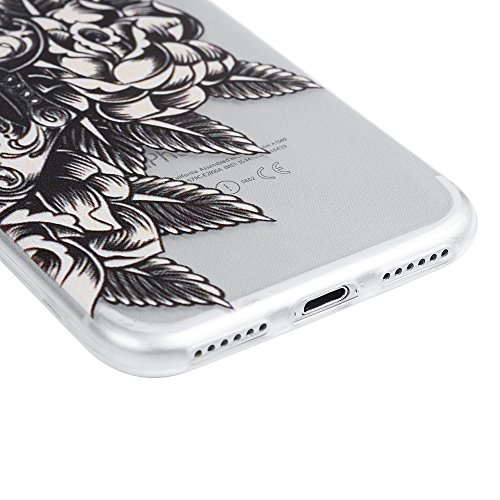 iPhone 7 Hülle (4,7 Zoll) YOKIRIN TPU Silikon Transparent Schutzhülle Weiche Crystal Clear Case Slim Fit Gemalt Silikonhülle für iPhone 7 Delphin Skelett Blume