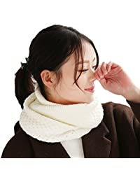 ZeHui Women Winter Knitted Scarf Warm Wrap Infinity Circle Loop Scarves milk white