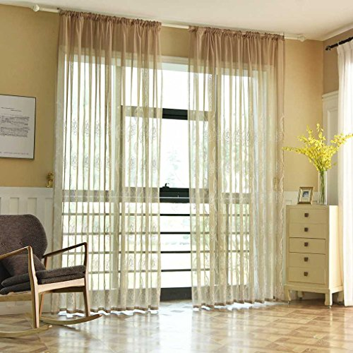 Busirde morbido ricamato voile curtain tulle finestra tendaggi tende sheer trasparente in camera traspirante ufficio hotel marrone 1x2.5m