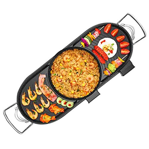 YJIUJIU Hot Pot Elektro BBQ Grill, Barbecue Hot Pot Eintopf Zuhause Rauchfrei Antihaft Blech, Geeignet für Familienessen mit 2 bis 8 Personen,B