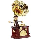 Dehang - Caja de música mecánica clásica para bebés - Diseño de Fonógrafo con trompeta muñeco - Juguete con sonido instrumento musical para bebés niños niñas