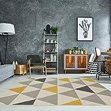 The Rug House Milan Ocre Amarillo Mostaza Gris Beige con triángulos arlequín Tradicional Alfombra de salón 240cm x 330cm